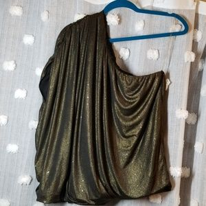 Lane Bryant One Shoulder Gold Sparkle Top size 2X